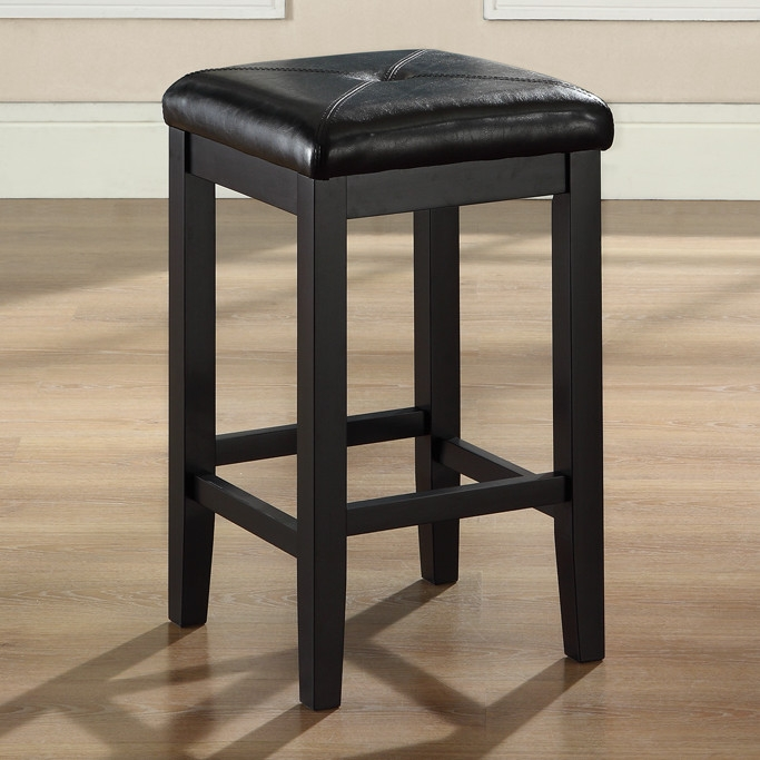 Set Of 2 Black 24 Inch Backless Barstools With Faux Leather Seat