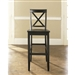 Set of 2 - X-Back Solid Wood 30-inch Barstools in Black Finish
