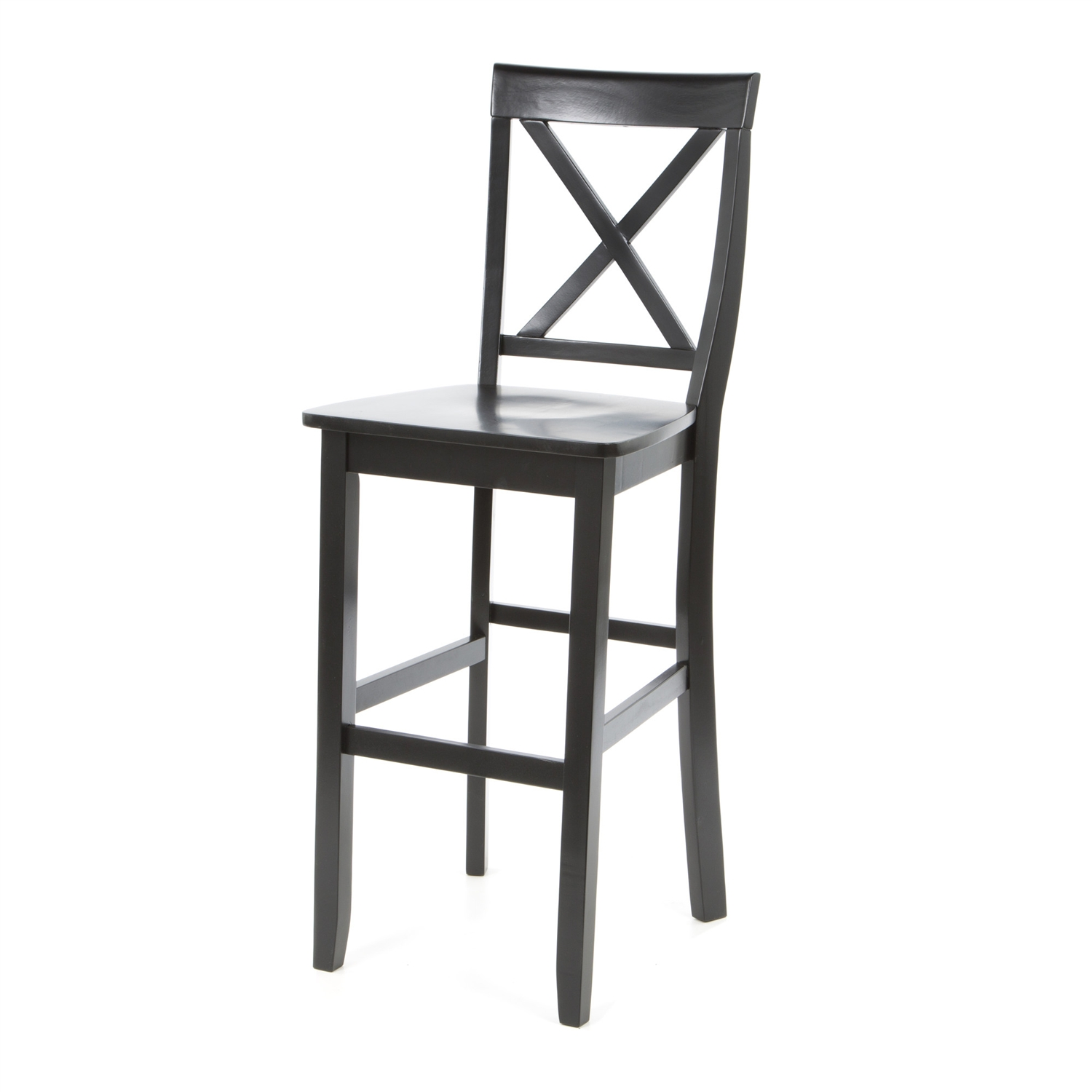 Set Of 2 X Back Solid Wood 30 Inch Barstools In Black Finish