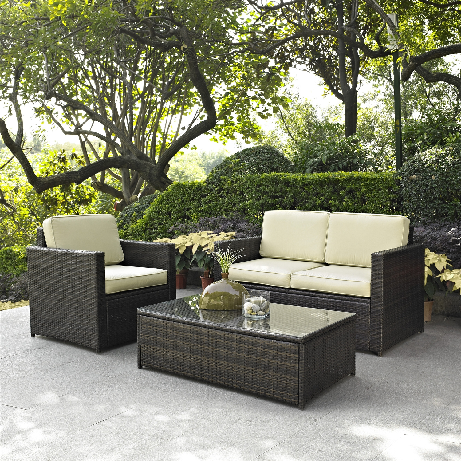 3 Piece Outdoor Patio Furniture Set With Chair Loveseat And Cocktail