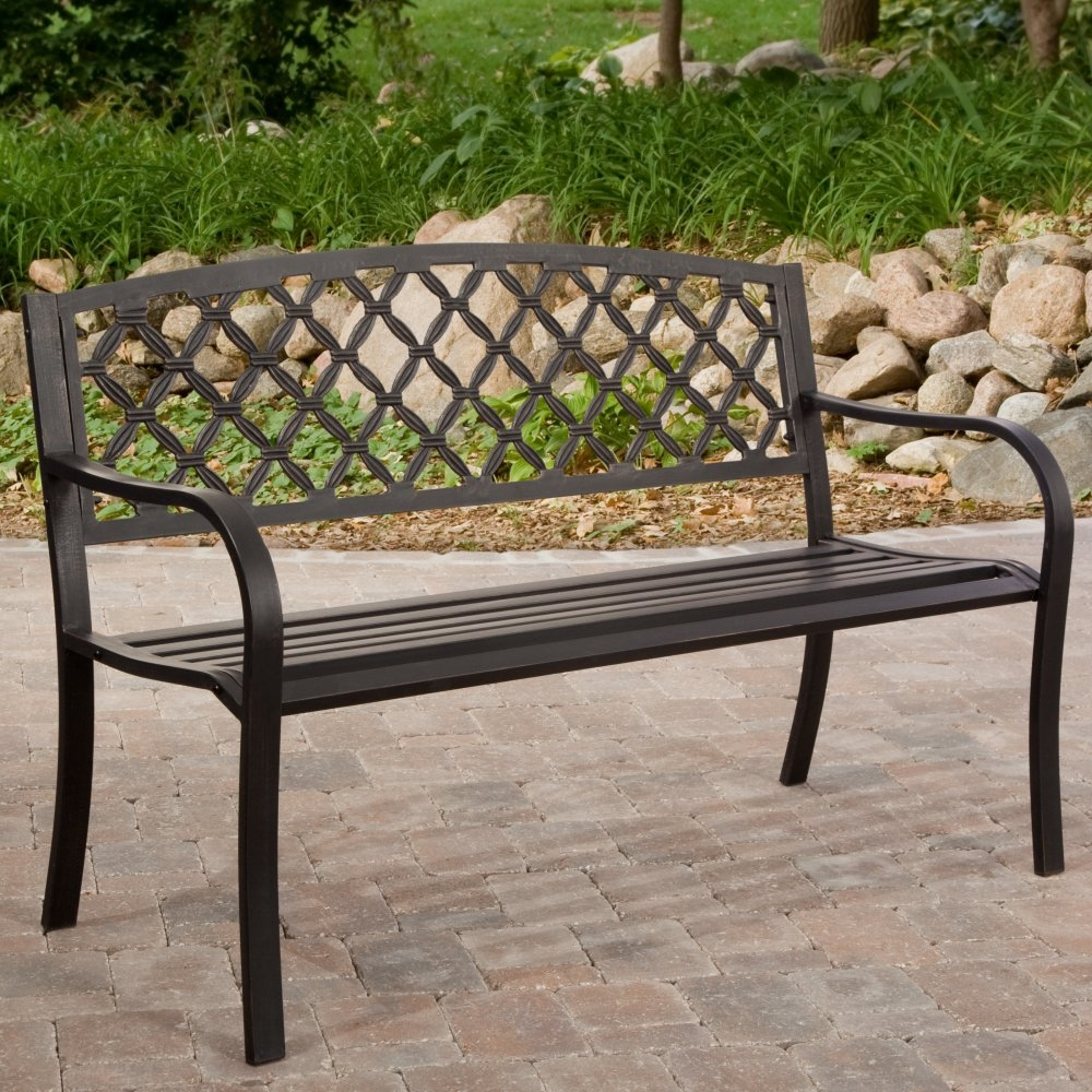 4Ft Metal Garden Bench with Bronze Highlights over Antique Black