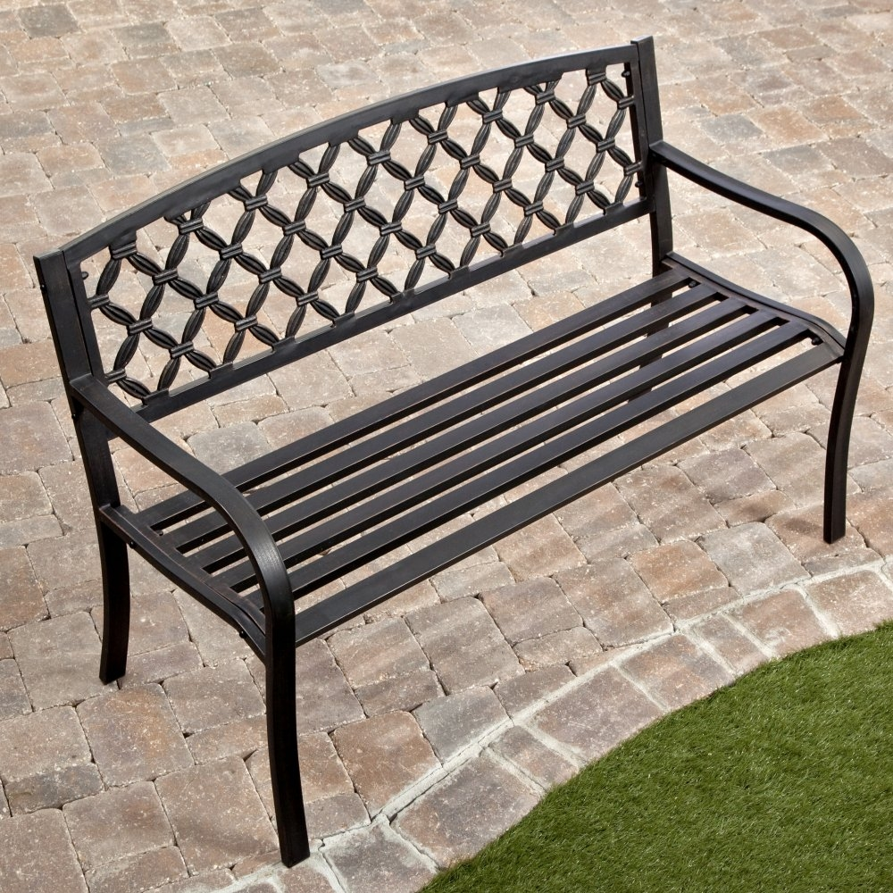 4 Ft Metal Garden Bench With Bronze Highlights Over