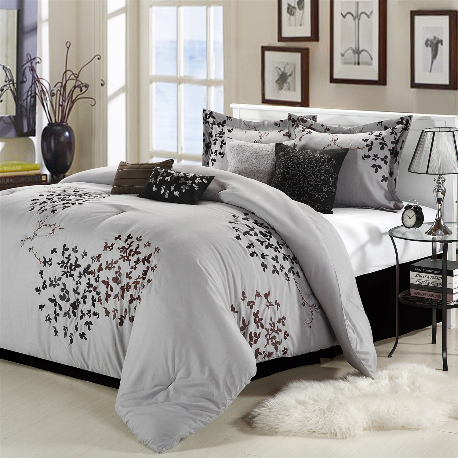 Queen size 8 Piece Comforter Set in Silver Gray Black Brown Floral