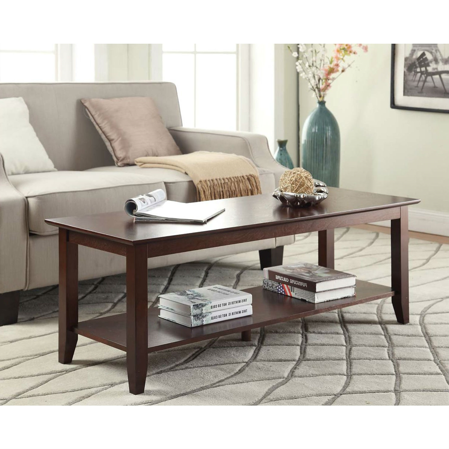 Expresso Coffee Table.Espresso Wood Grain Coffee Table With Bottom Shelf