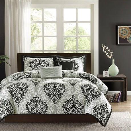 California King Size 5 Piece Black White Damask Comforter Set