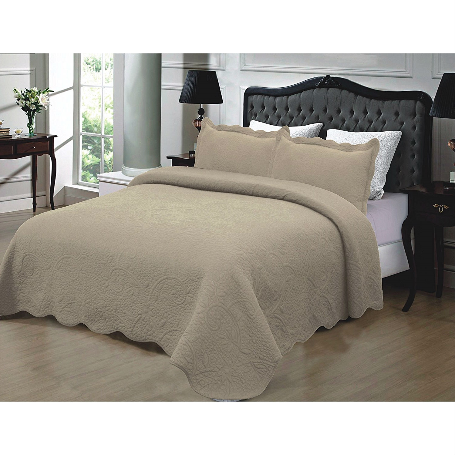 California King 3 Piece Quilted Bedspread 100 Cotton In Taupe