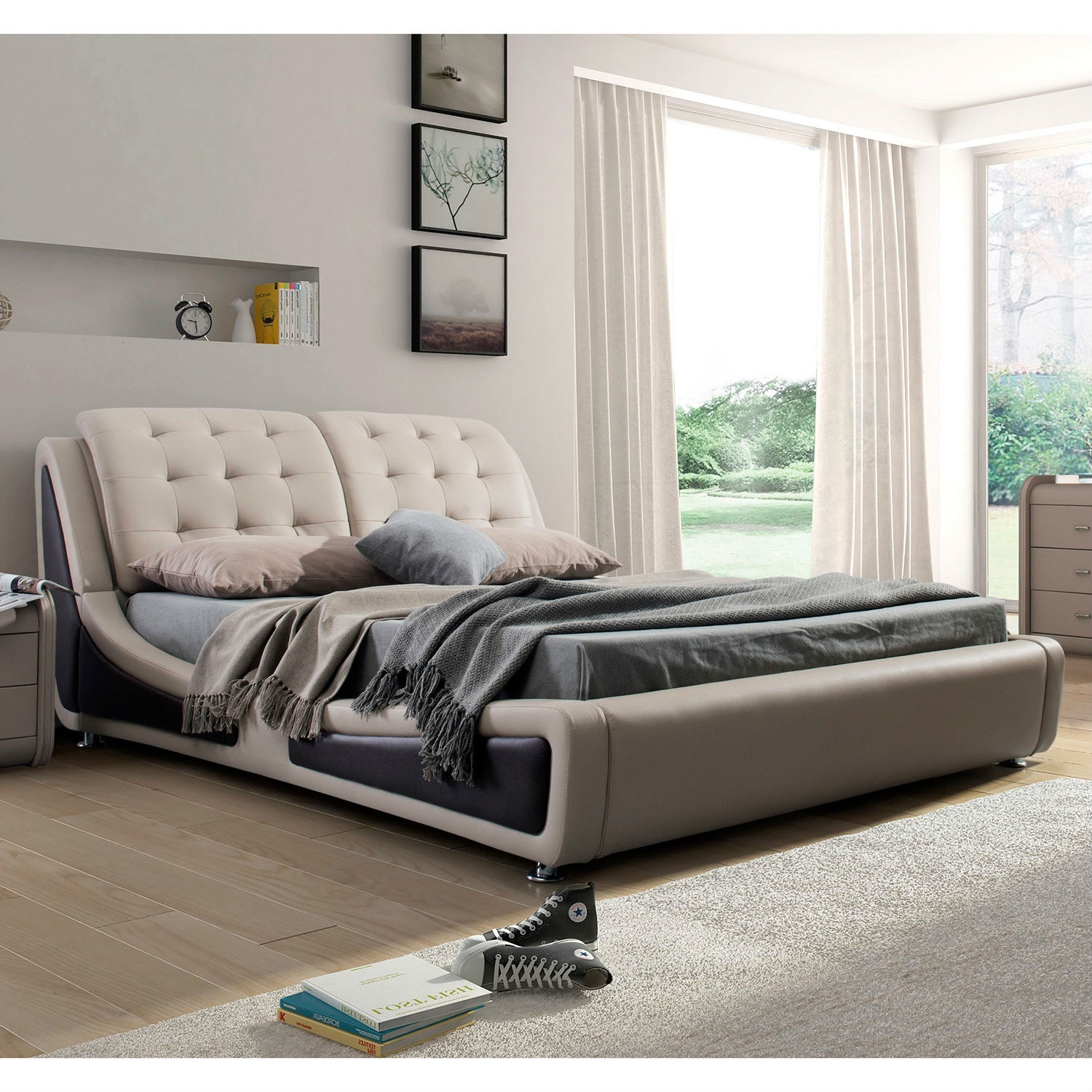 California King Size Light Brown Tan Faux Leather Upholstered Bed With Headboard Fastfurnishings Com