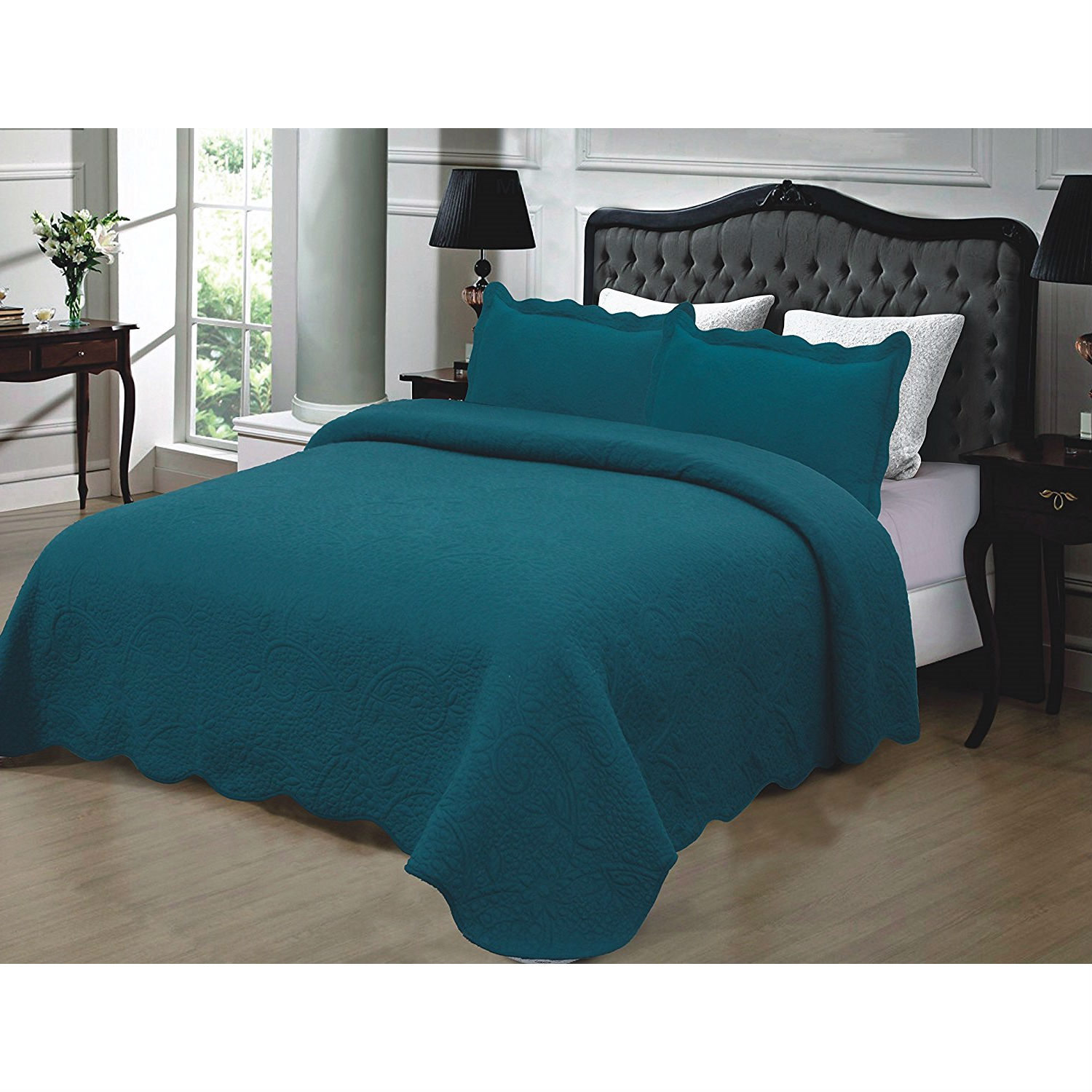 California King 3 Piece 100 Cotton Quilted Bedspread With Shams In
