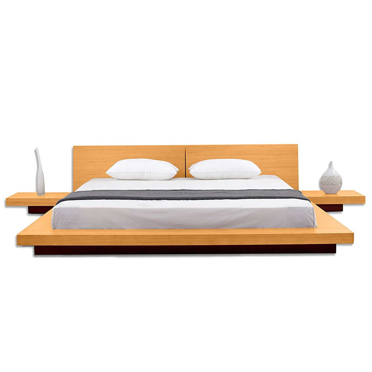 Picture of: California King Size Modern Platform Bed With Headboard And 2 Nightstands In Oak Fastfurnishings Com