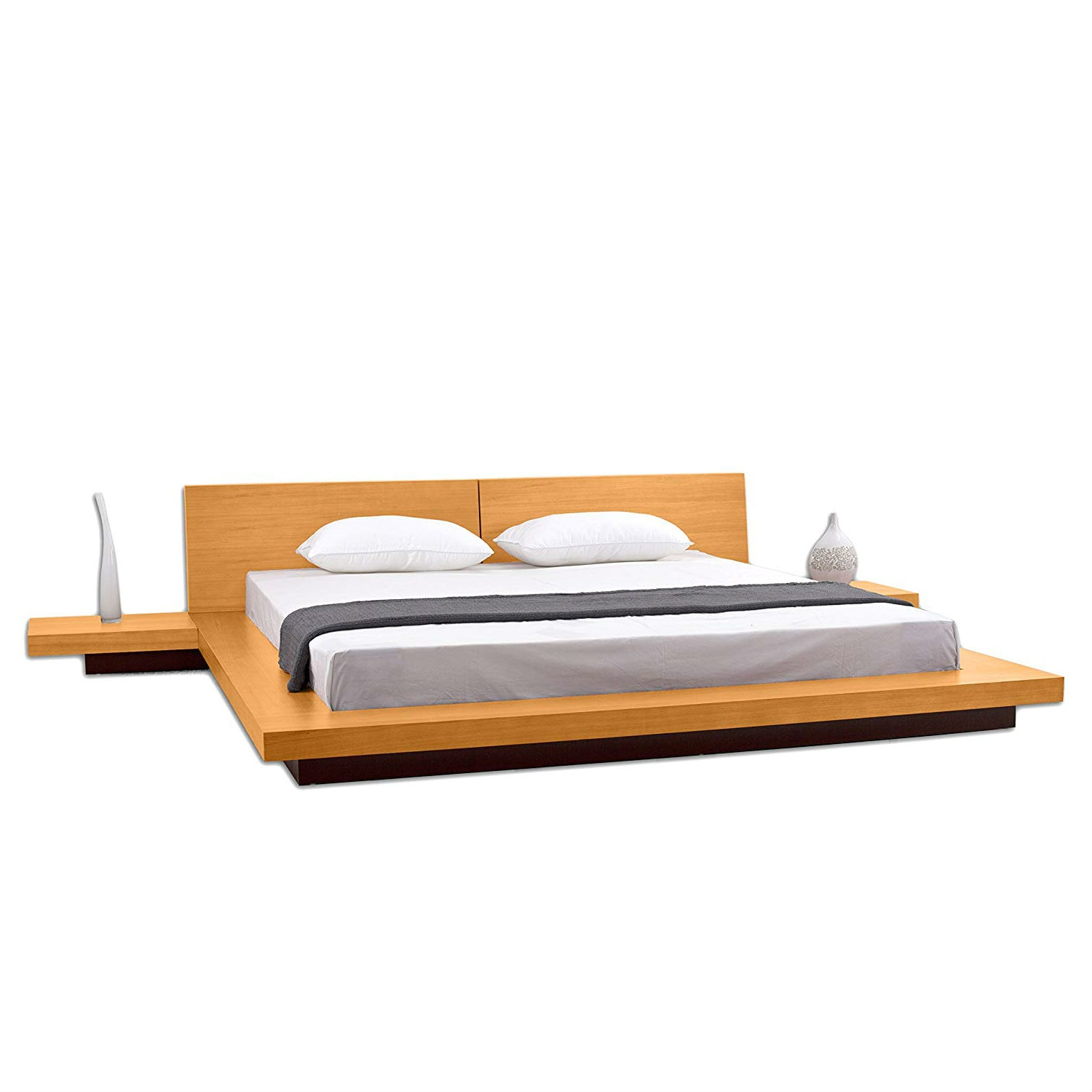 . California King size Modern Platform Bed with Headboard and 2 Nightstands  in Oak