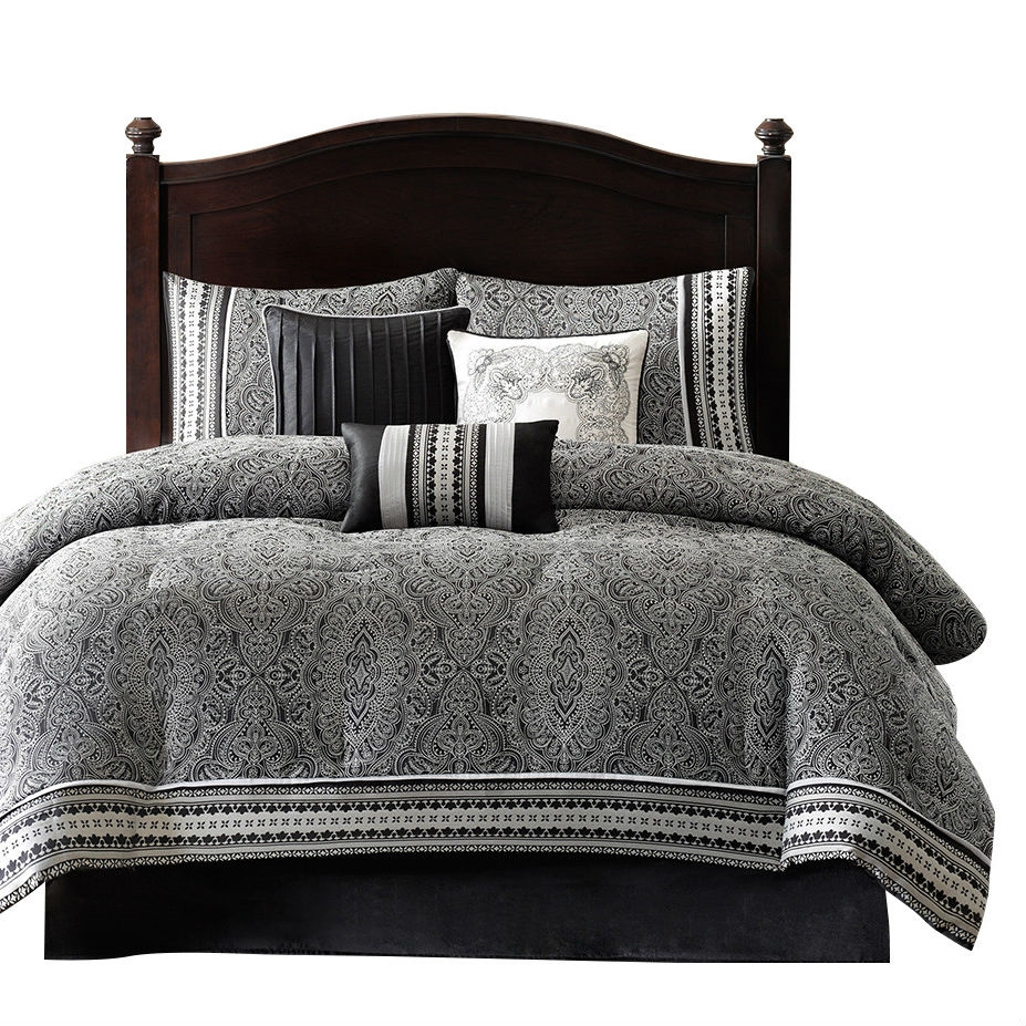 California King Size 7 Piece Comforter Set In Black White Luxury