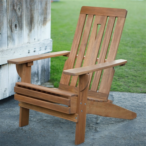Outdoor Hardwood Square-Back Adirondack Chair with Oversized Contoured Seat