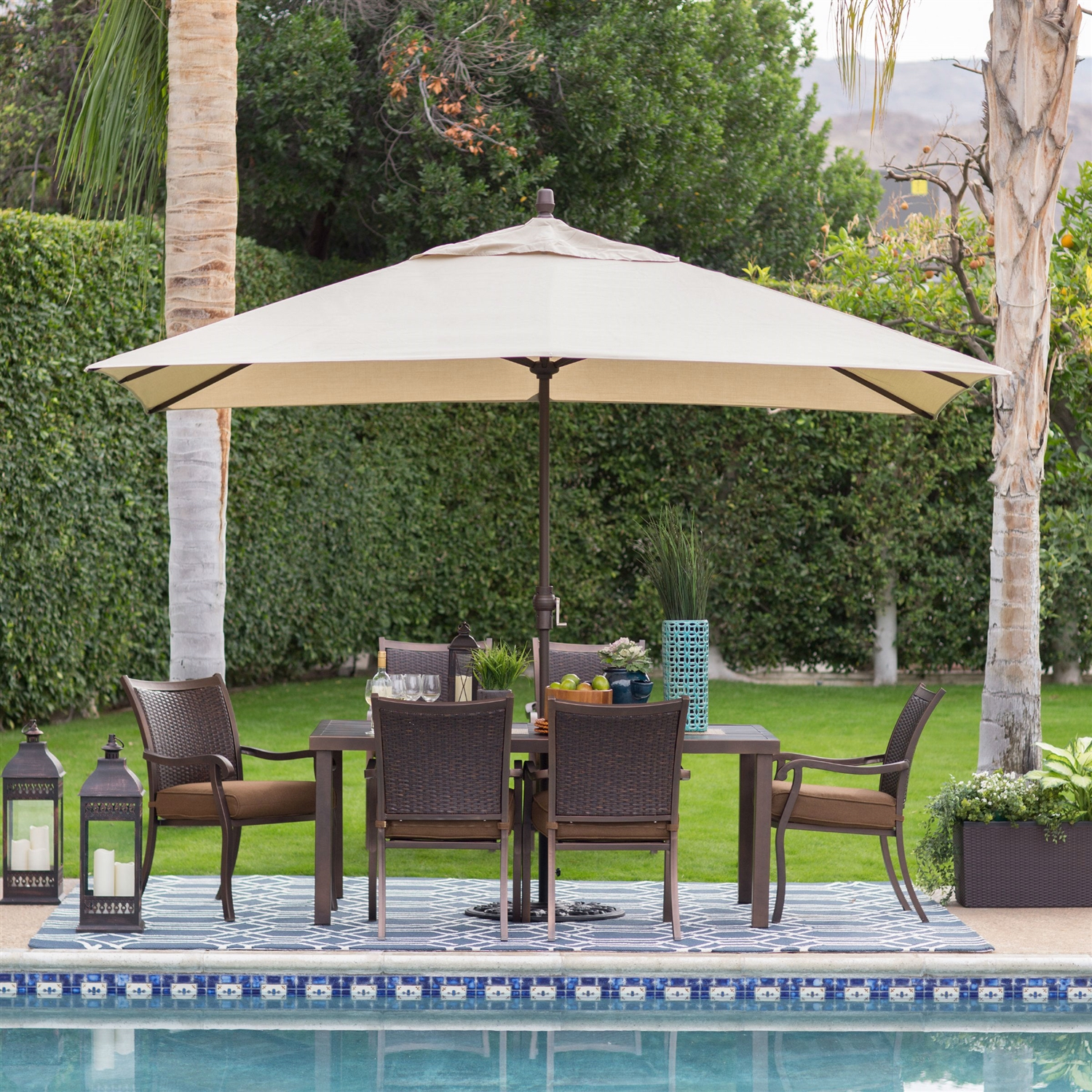 rectangle 8 ft x 11 ft patio umbrella with bronze finish pole and