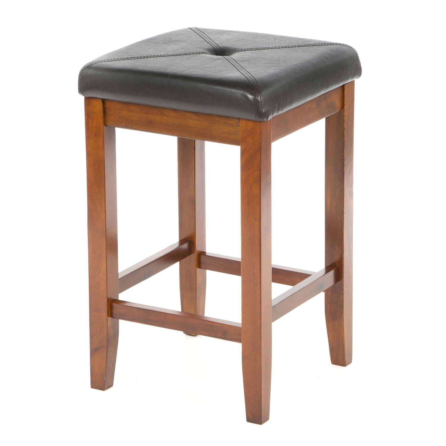 Admirable Set Of 2 24 Inch High Cherry Bar Stools W Cushion Faux Leather Seat Evergreenethics Interior Chair Design Evergreenethicsorg