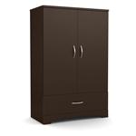 带巧克力棕色底部抽屉的现代门衣橱衣柜柜