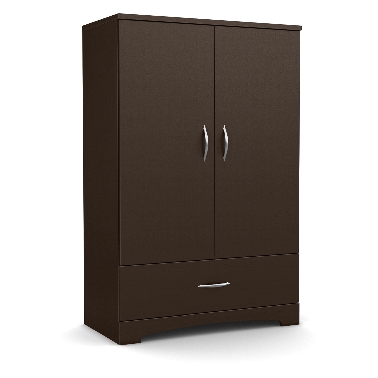 Attractive Contemporary 2 Door Armoire Wardrobe Cabinet With Bottom Drawer In  Chocolate Brown
