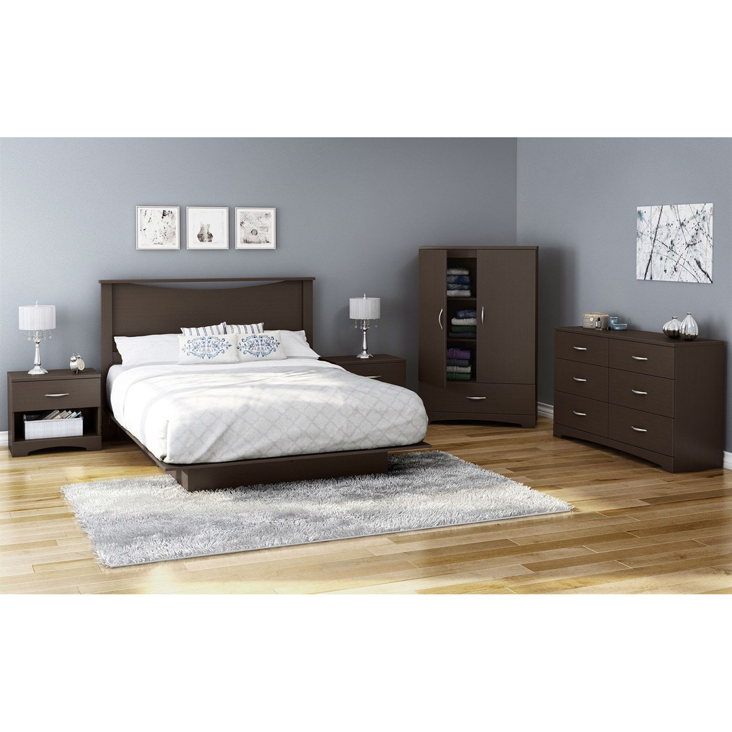 Retail Price $319.00  sc 1 st  FastFurnishings.com & Contemporary 2-Door Armoire Wardrobe Cabinet with Bottom Drawer in ...