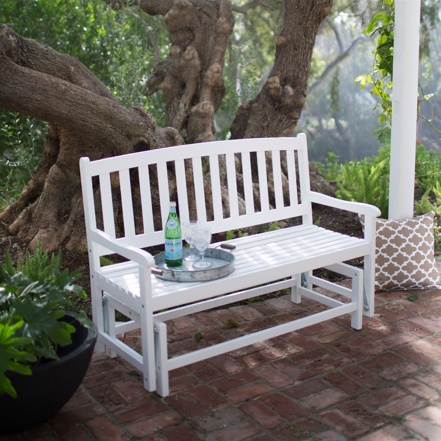 4 Ft Outdoor Patio Glider Chair Loveseat Bench In White Wood Finish
