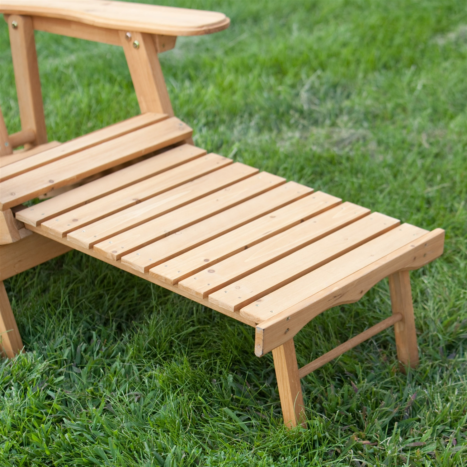 Reclining Adirondack Chair with Pull out Ottoman in Natural Fir