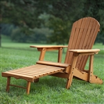 Outdoor Adirondack Chair Recliner with Slide-Out Ottoman in Kiln-Dried Fir Wood