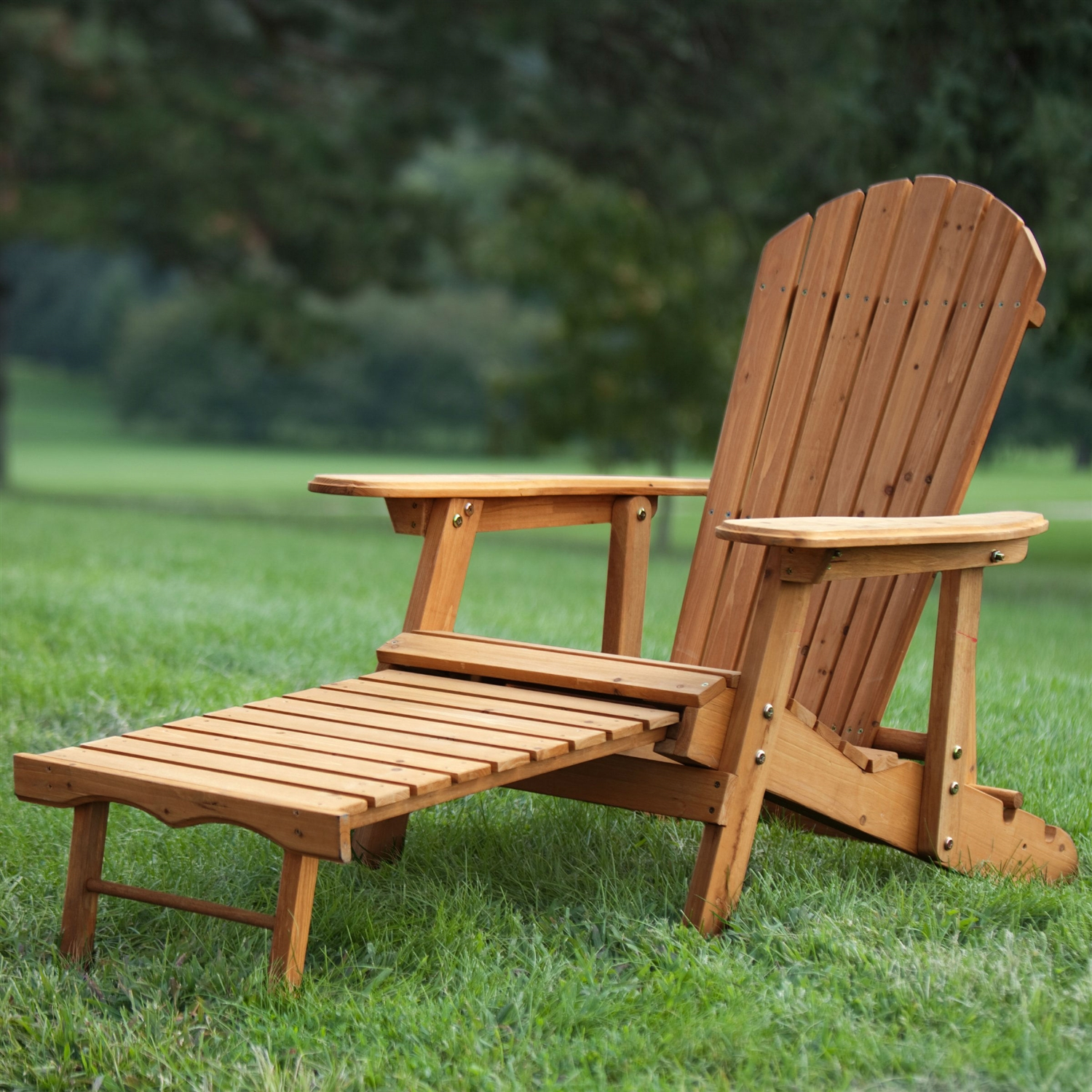 Outdoor Adirondack Chair Recliner with Slide Out Ottoman in Kiln