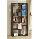 Modern Cube Contemporary Style Bookcase in Cappuccino Finish