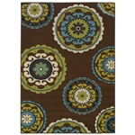 7'10 x 10'10 Outdoor/Indoor Area Rug in Brown Teal, Green Yellow Circles