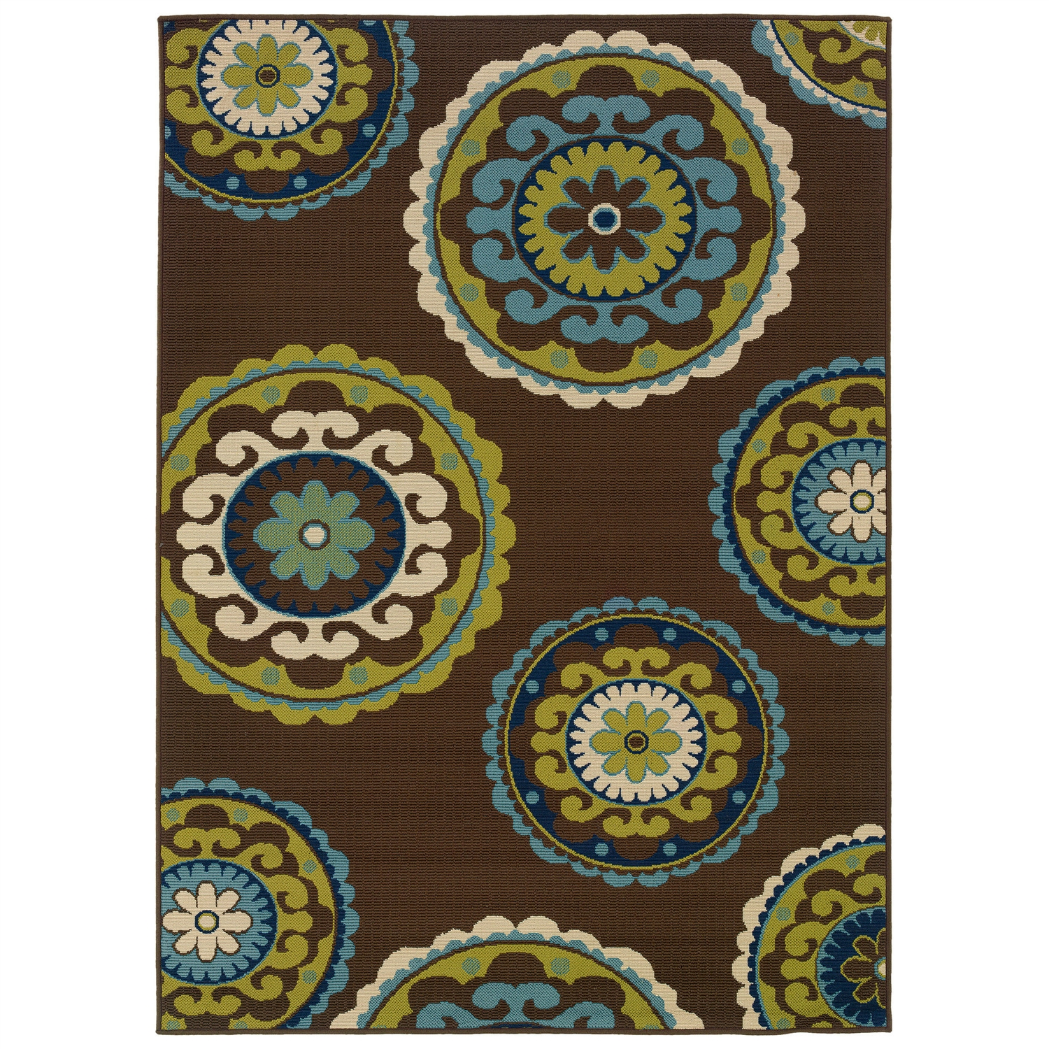 7\'10 x 10\'10 Outdoor/Indoor Area Rug in Brown Teal, Green Yellow ...