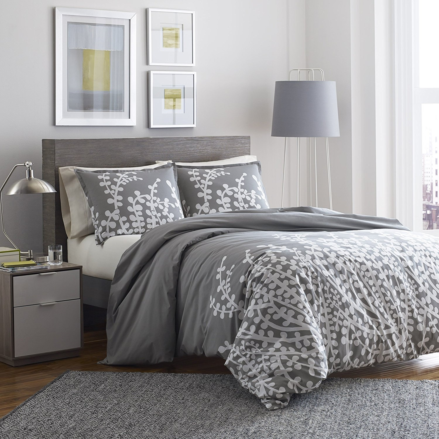 Full Queen 100 Percent Cotton Comforter Set With Grey White