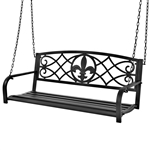 Black Sturdy 2 Seat Porch Swing Bench Scroll Accents