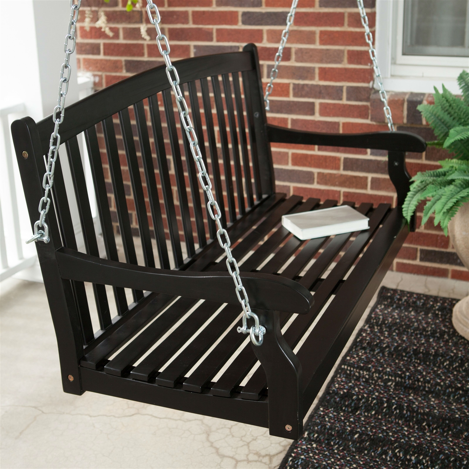 Outdoor Eco Friendly 4 Ft Wood Porch Swing In Black Fastfurnishings