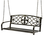 Bronze Sturdy 2 Seat Porch Swing Bench Scroll Accents