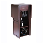 9 Bottle Walnut Wine Bottle Rack Mini Bar Expandable Counter