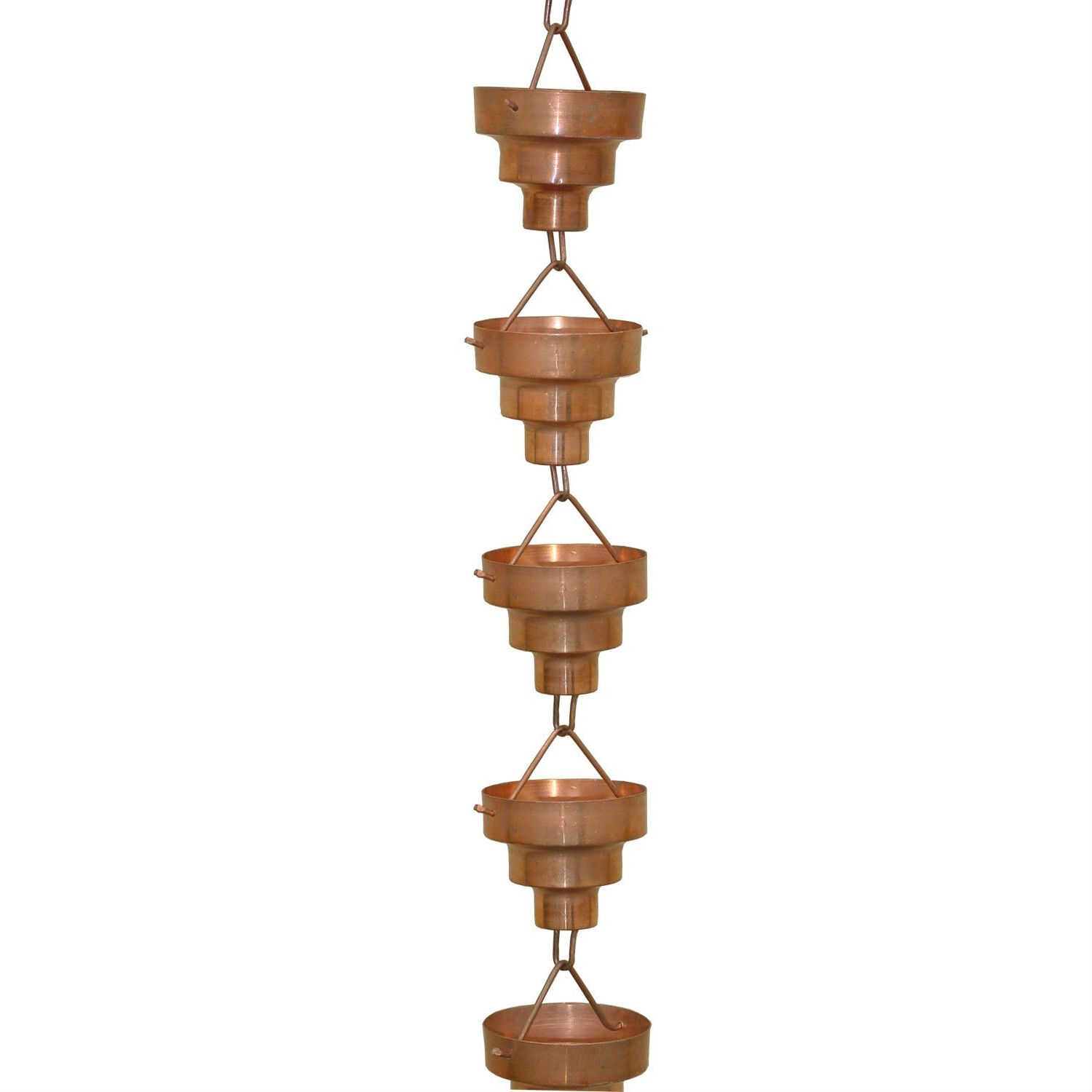 Pure Copper 8.5-Ft Long Rain Chain with Wide Mouth Funnel Cups