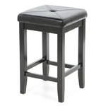 Set of 2 - Black Bar Stools 24-inch High w/ Cushion Faux Leather Seat