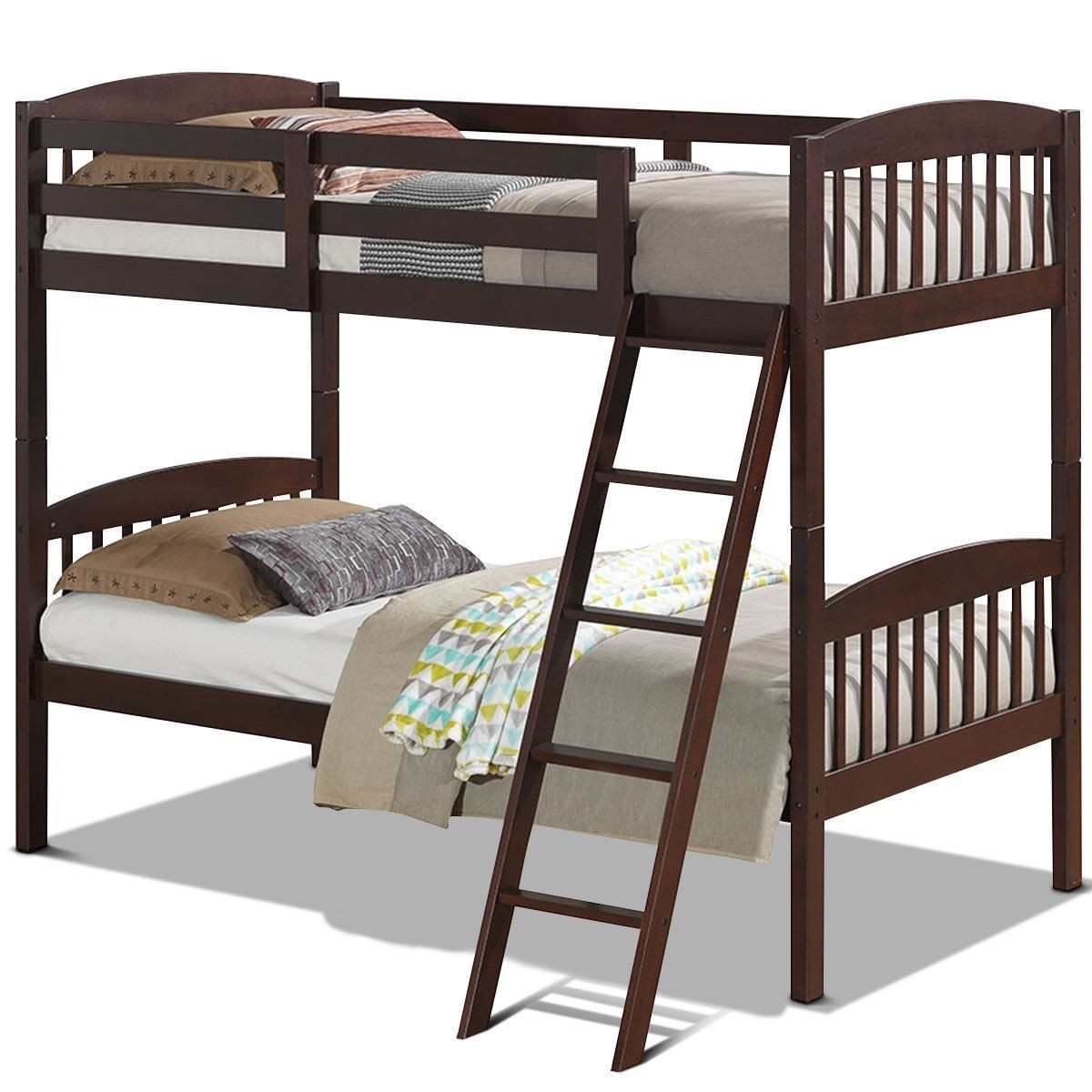 Picture of: Twin Over Twin Wooden Bunk Bed With Ladder In Dark Brown Finish Fastfurnishings Com