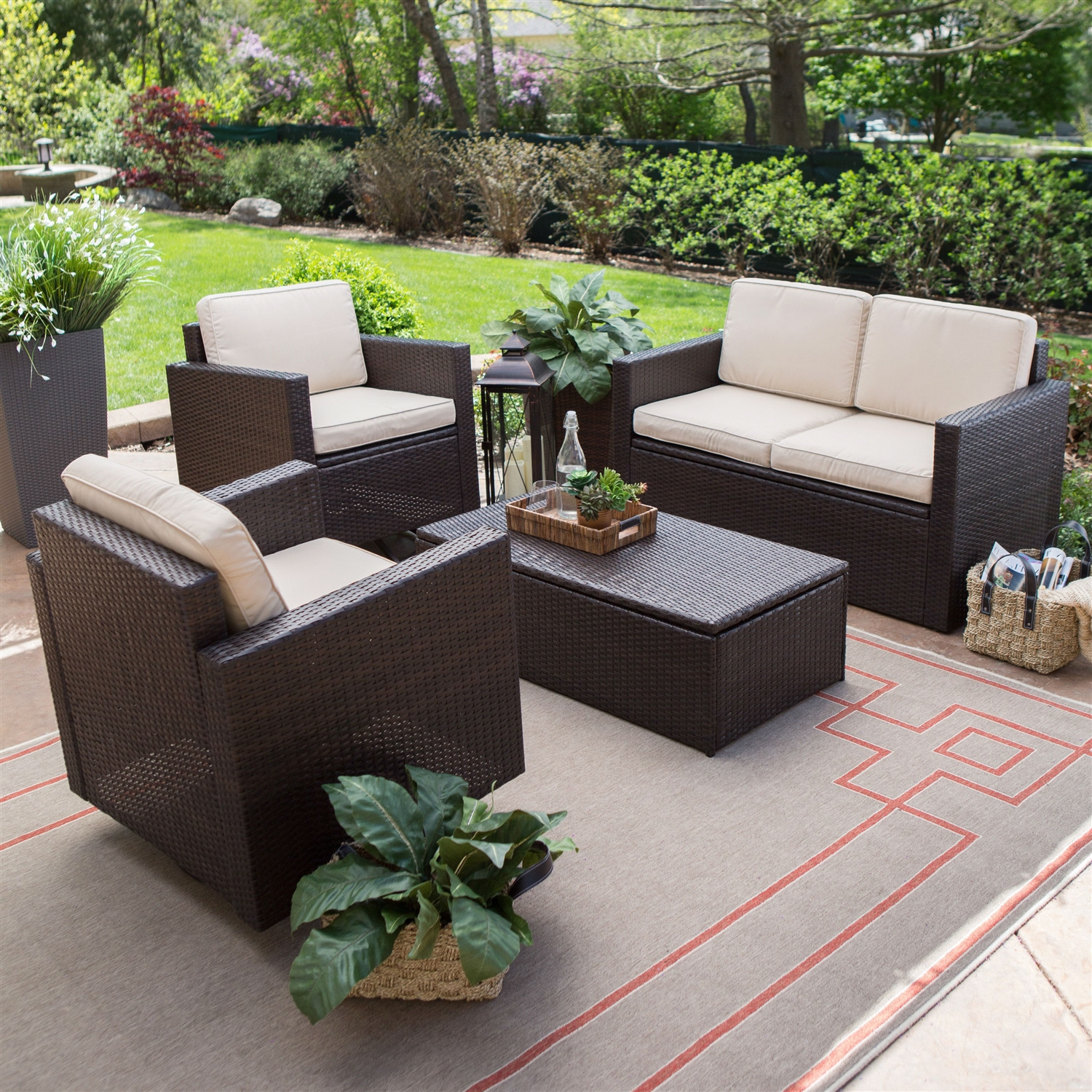 Outdoor Wicker Resin 4 Piece Patio Furniture Dinning Set With 2 Chairs Loveseat And Coffee Table Fastfurnishings