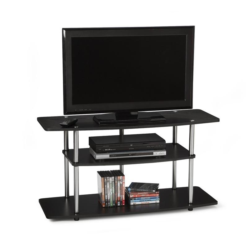 3-Tier Flat Screen TV Stand in Black Wood Grain / Stainless Steel