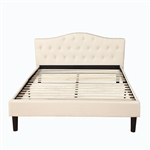 Full size Ivory Linen Upholstered Platform Bed with Button Tufted Padded Headboard