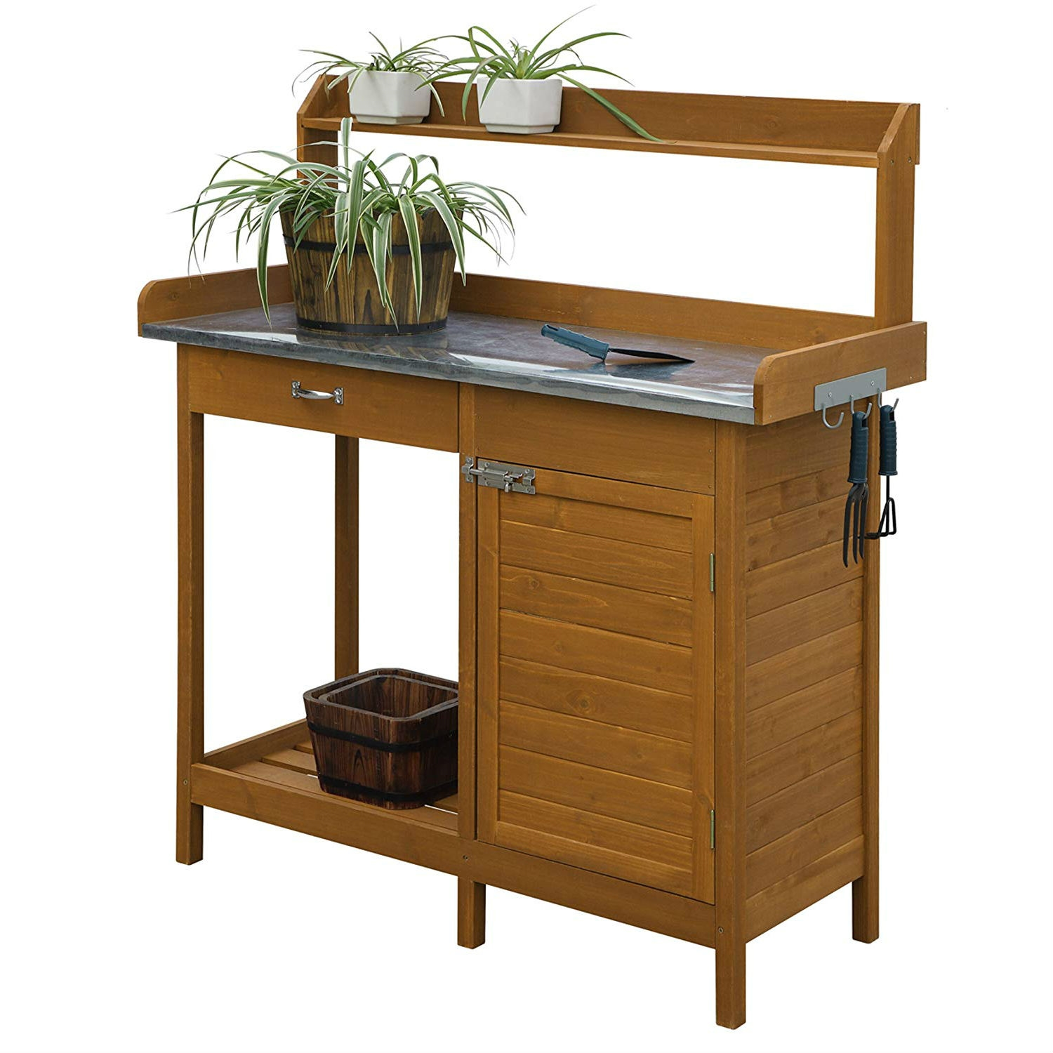 Outdoor Home Garden Potting Bench with Metal Table Top and Storage ...