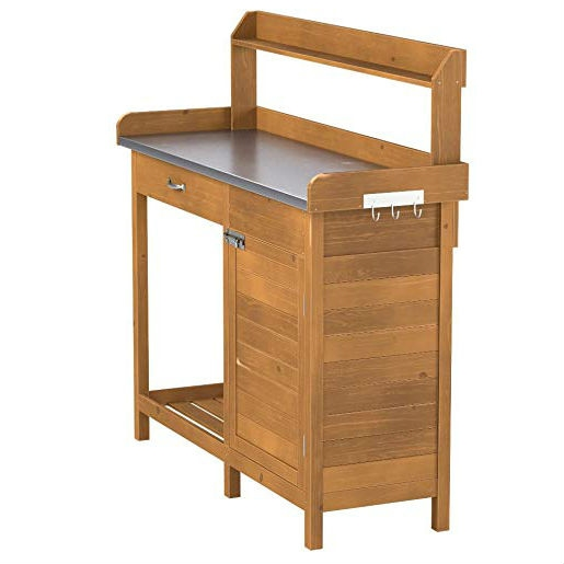 Outdoor Home Garden Potting Bench With Metal Table Top And Storage