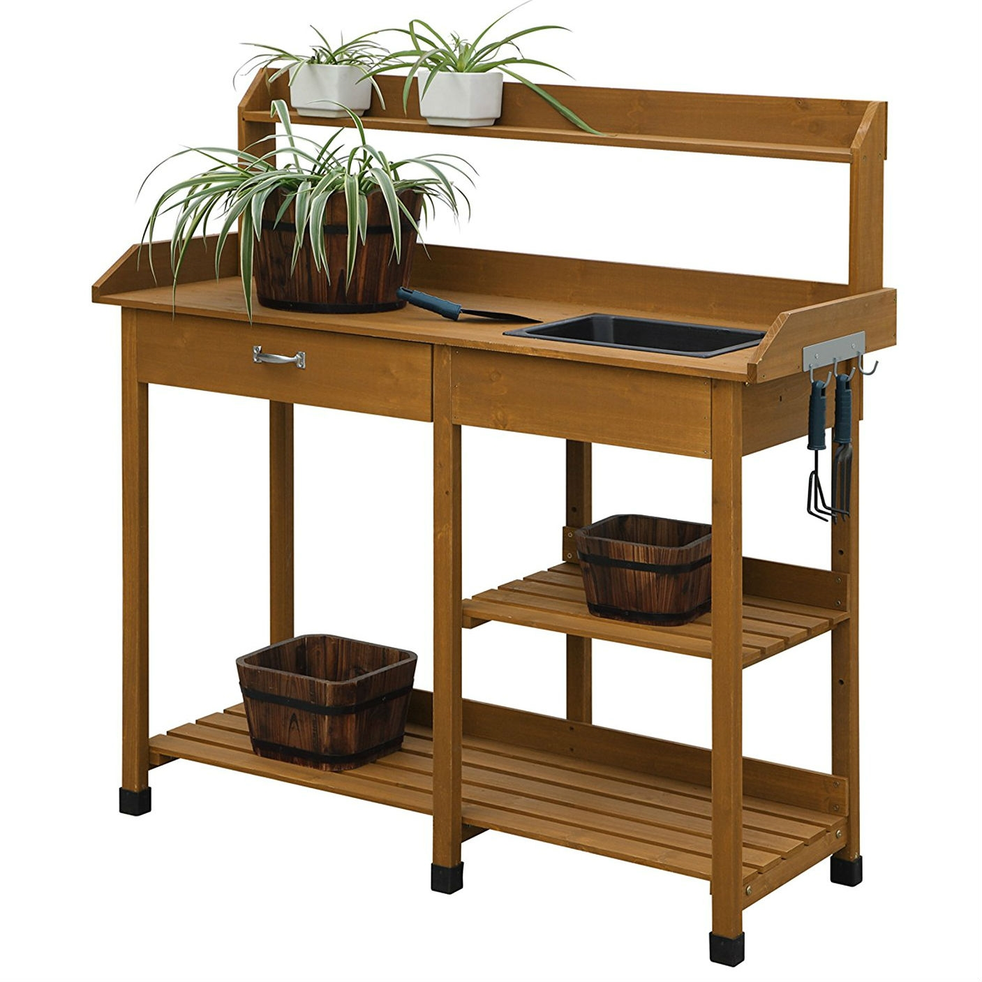 wooden potting bench garden work table with sink and shelving in light oak finish - Garden Work Bench