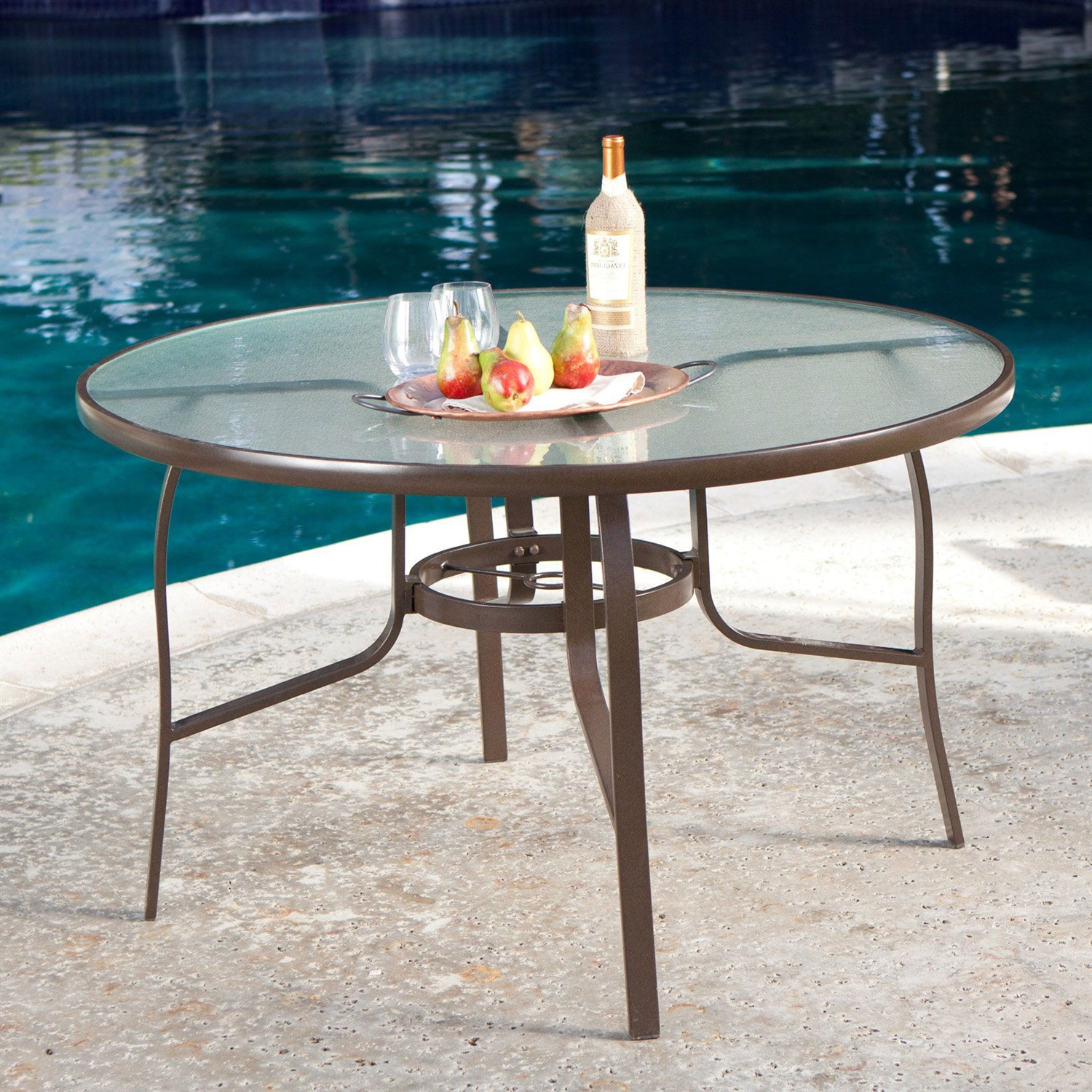 9 inch Round Glass Top Outdoor Patio Dining Table with Umbrella ...