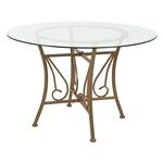 当代英寸圆形玻璃台面餐桌,带哑光金色金属框架