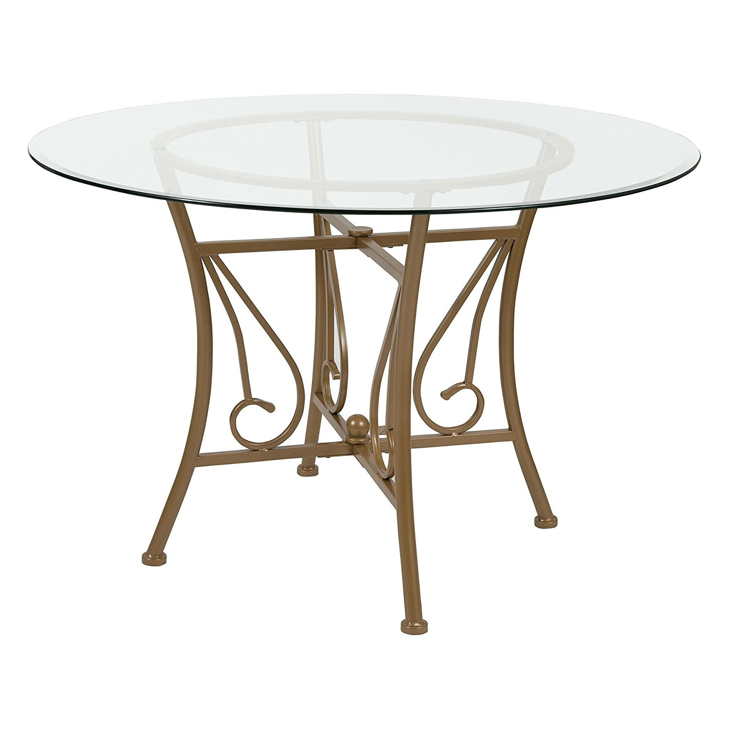 Contemporary 45 Inch Round Glass Top Dining Table With Matte Gold Metal Frame