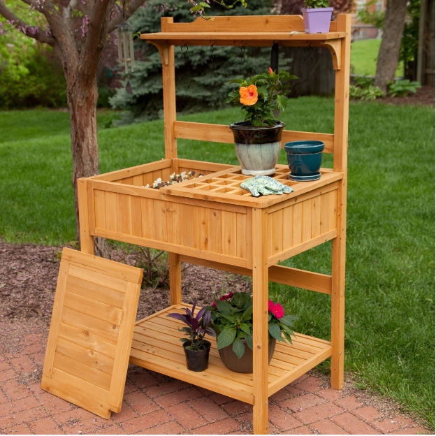 Fabulous Natural Wood Potting Bench Garden Table With Bottom Shelf Ocoug Best Dining Table And Chair Ideas Images Ocougorg