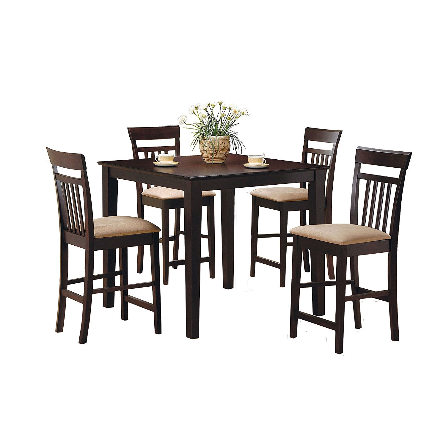 Incredible Dark Brown 5 Piece Dining Room Set With 4 Counter Height Barstools Home Interior And Landscaping Mentranervesignezvosmurscom