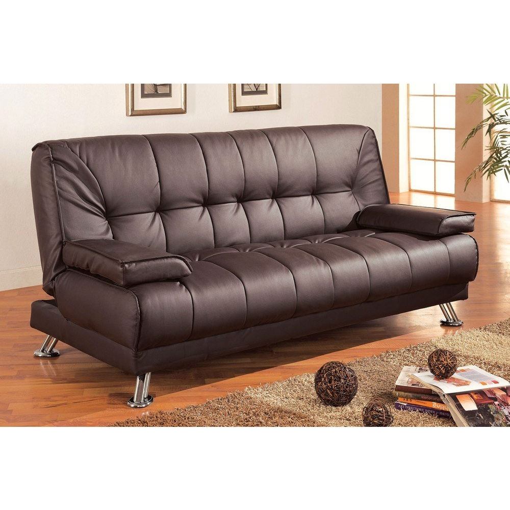 Modern Futon Style Sleeper Sofa Bed in Brown Faux Leather ...