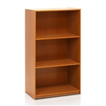 Modern 3-Shelf Bookcase in Light Cherry Wood Finish