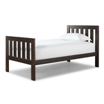 Twin size Espresso Wood Bed with Headboard and Footboard